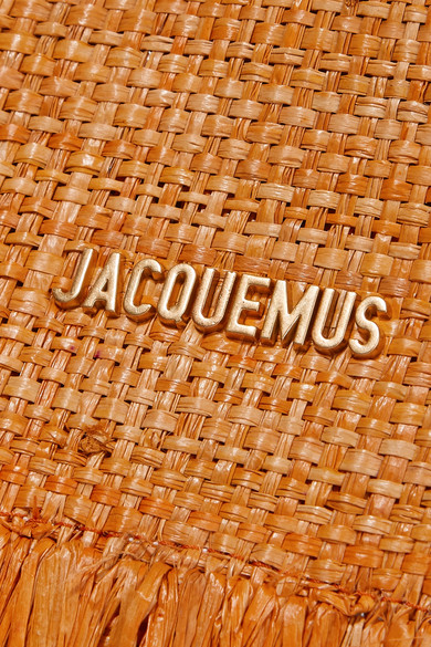 Jacquemus Totes Le Baci leather-trimmed fringed raffia tote