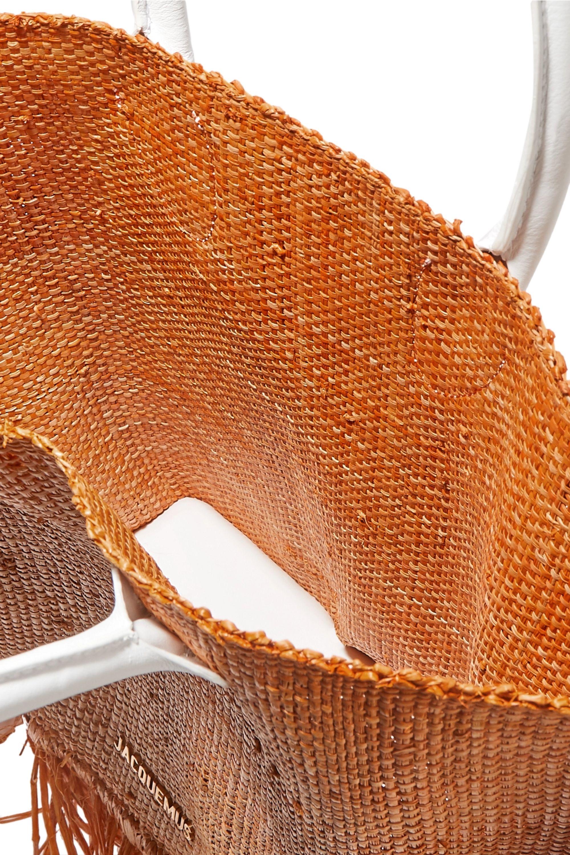 Jacquemus Le Baci leather-trimmed fringed raffia tote