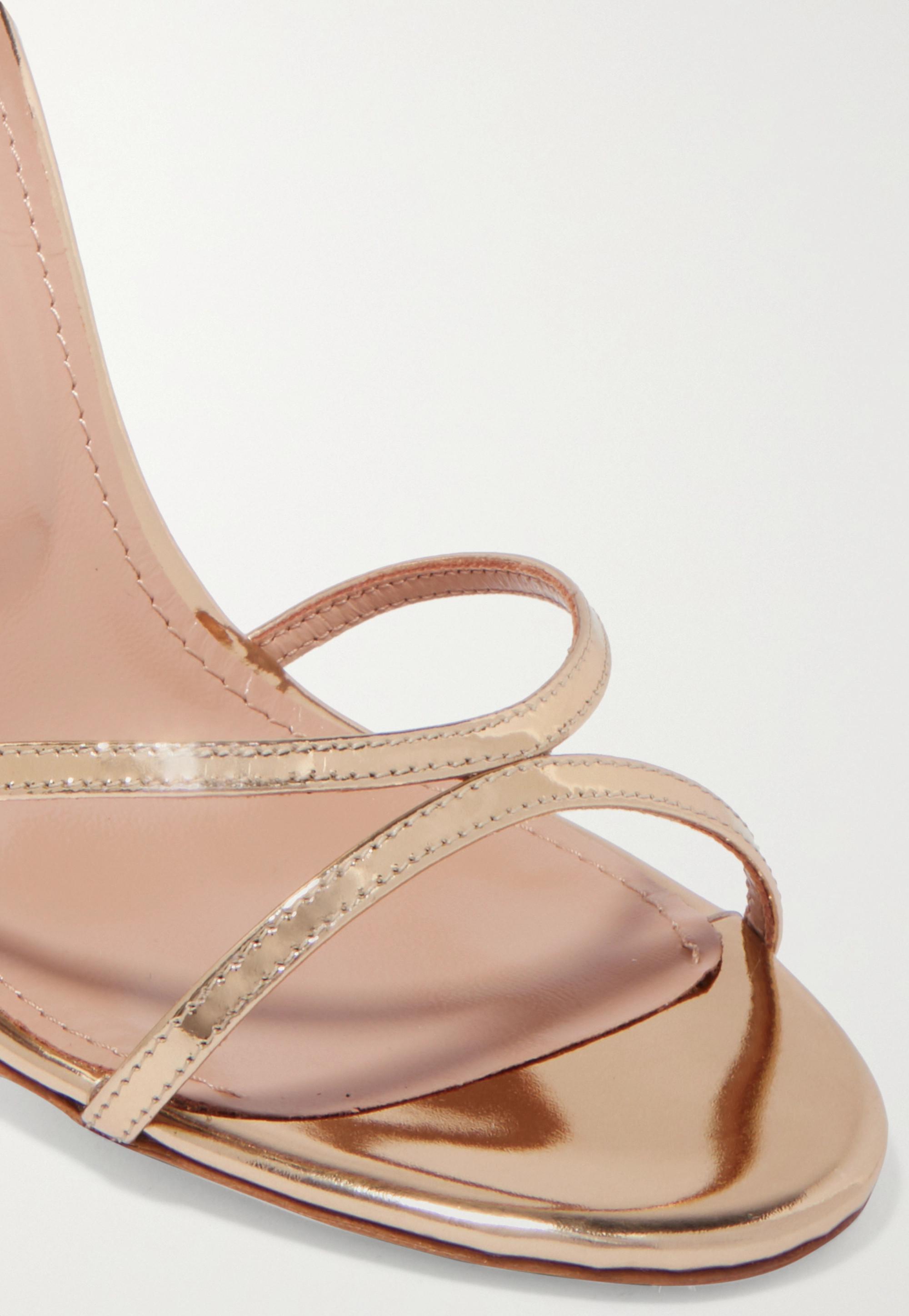 Aquazzura Purist 105 mirrored-leather sandals
