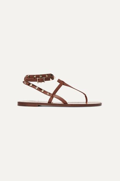 The Rockstud Textured Leather Sandals ValentinoGaravani nOPXZk0N8w