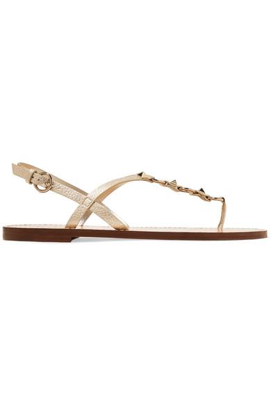478caf0ca Valentino. Valentino Garavani The Rockstud metallic textured-leather sandals