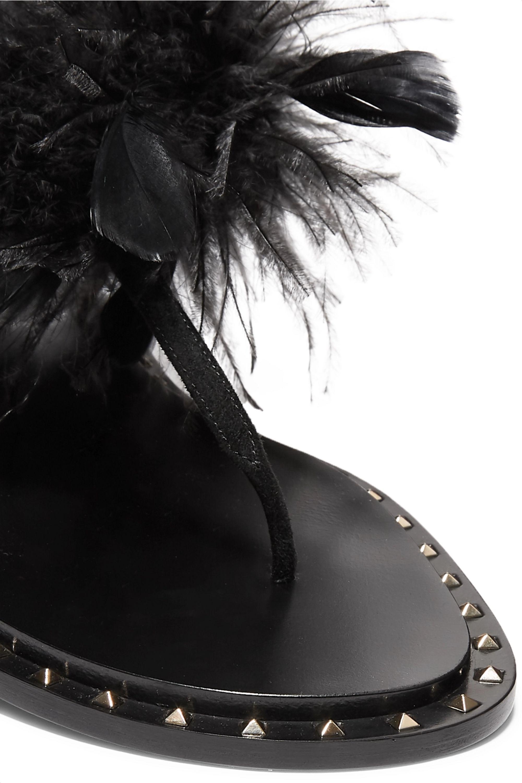 Valentino Valentino Garavani feather-embellished suede sandals