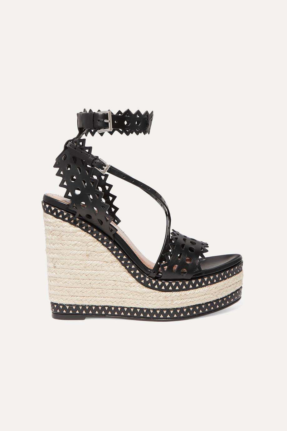 Alaïa 140 激光雕花皮革坡跟麻底鞋