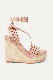 140 laser-cut leather wedge espadrilles