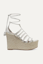 Alaïa 140 studded cutout leather wedge espadrilles