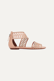 Alaïa Studded leather-appliquéd mesh sandals