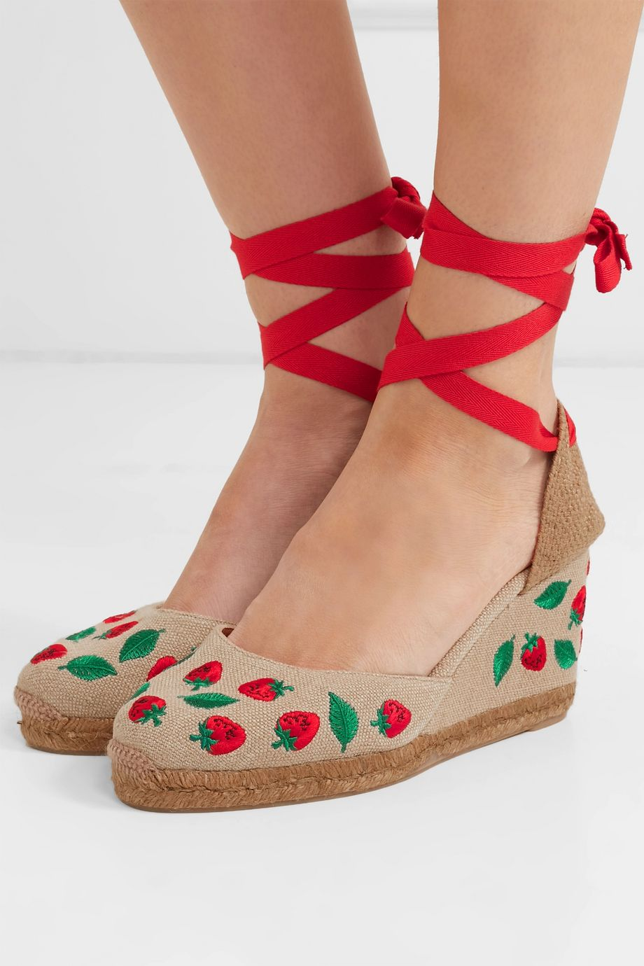 Castañer Carina 80 embroidered canvas wedge espadrilles