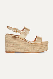Castañer Emily metallic leather wedge espadrilles