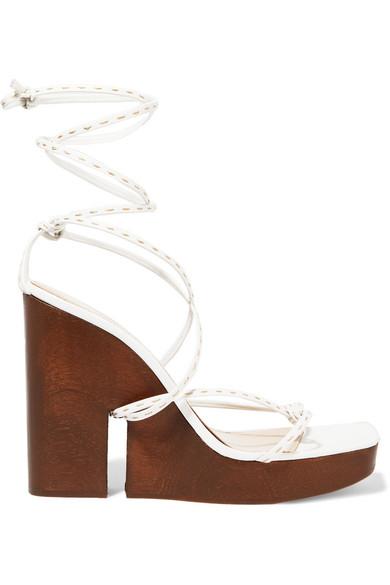 JACQUEMUS | Jacquemus - Leather Wedge Sandals - White | Goxip