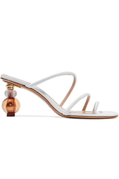 Jacquemus Sphere Heel Strappy Mules In White