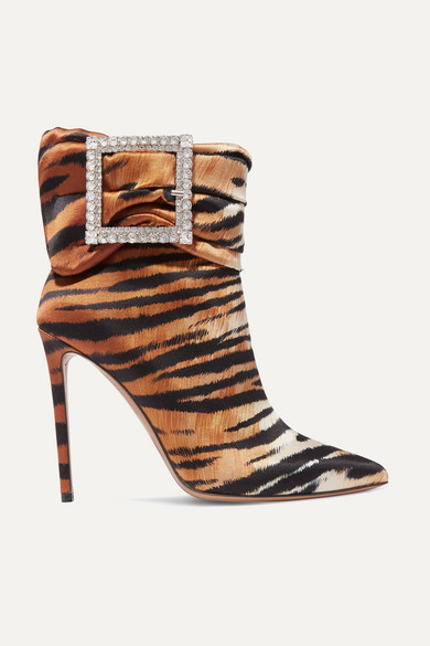 Yasmine Embellished Tiger Print Satin Ankle Boots by Alexandre Vauthier