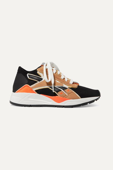 chaussures de sport 53555 a884e + Victoria Beckham Bolton suede and leather-trimmed stretch-knit sneakers