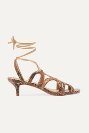 Cutout snake-effect leather sandals