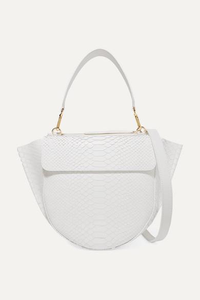 Hortensia Medium Glossed Snake-effect Leather Shoulder Bag