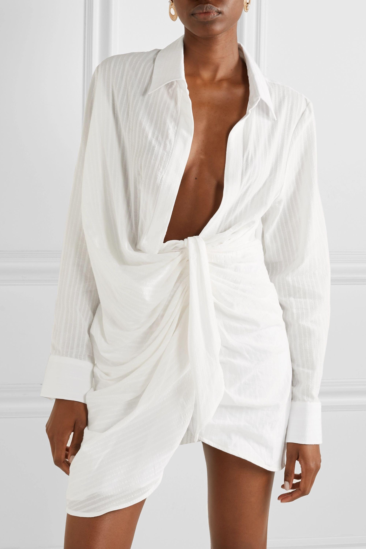 Jacquemus Bahia draped embroidered cotton-blend mini dress