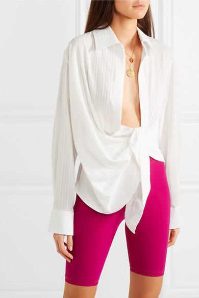 Jacquemus Tops Bahia gathered cotton-blend jacquard top