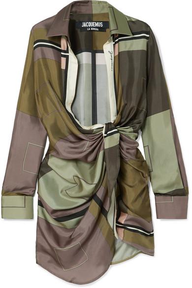 Jacquemus Dress Bahia draped printed silk-satin mini dress