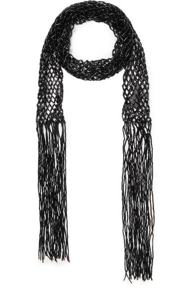 Dries Van Noten Accessories Fringed beaded macramé scarf