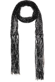 Fable fringed beaded macramé scarf