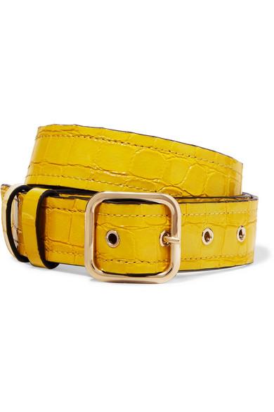 Croc Effect Leather Belt by Dries Van Noten