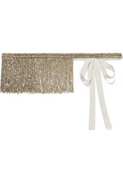 Fringed beaded silk-grosgrain belt