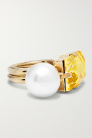 Gold-tone, faux pearl and crystal ring
