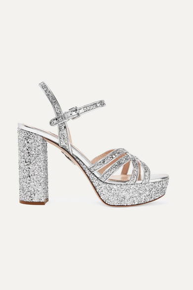 Miu Miu Platforms Glittered leather platform sandals