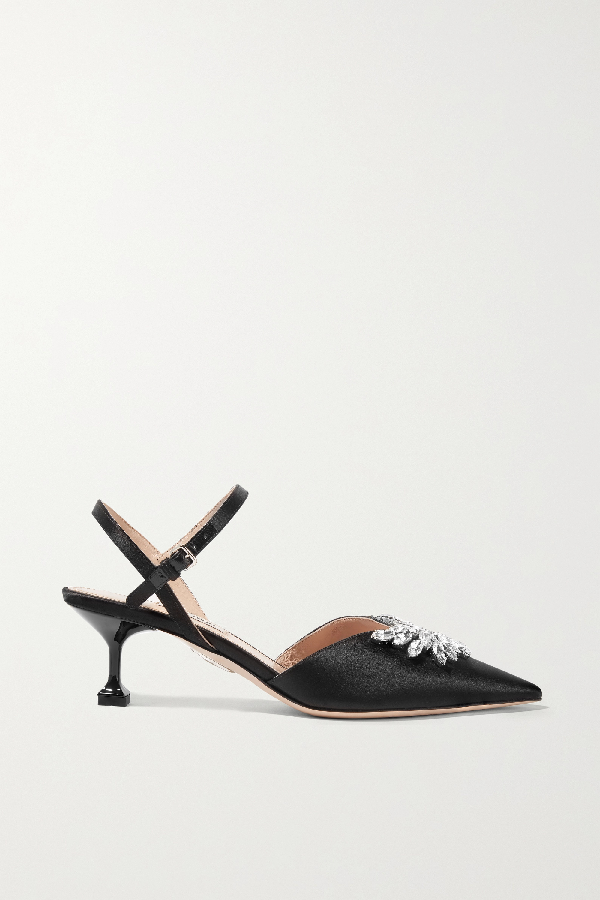 Miu Miu Crystal-embellished satin slingback pumps