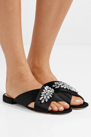 Crystal-embellished satin slides