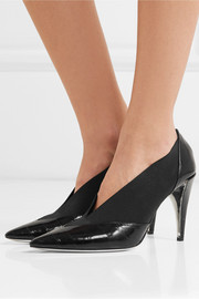 Croc-effect leather and elastic pumps