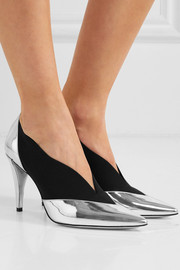 Mirrored-leather and elastic pumps