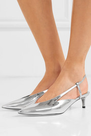 Mirrored-leather slingback pumps