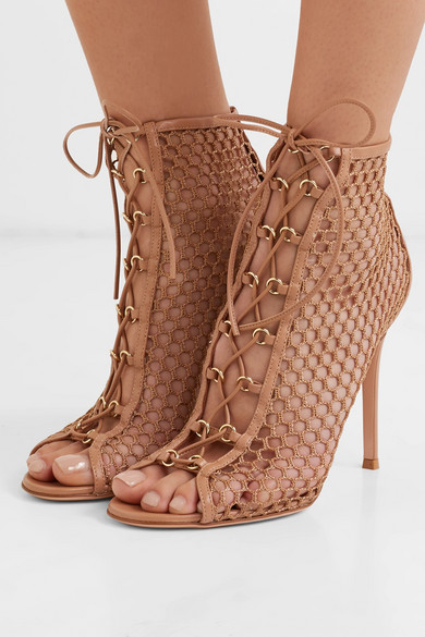 Gianvito Rossi Boots 105 lace-up fishnet ankle boots