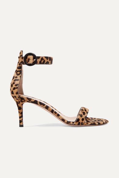 Gianvito Rossi Portofino 70 Leopard-print Leather Heeled Sandals In Leopard Print