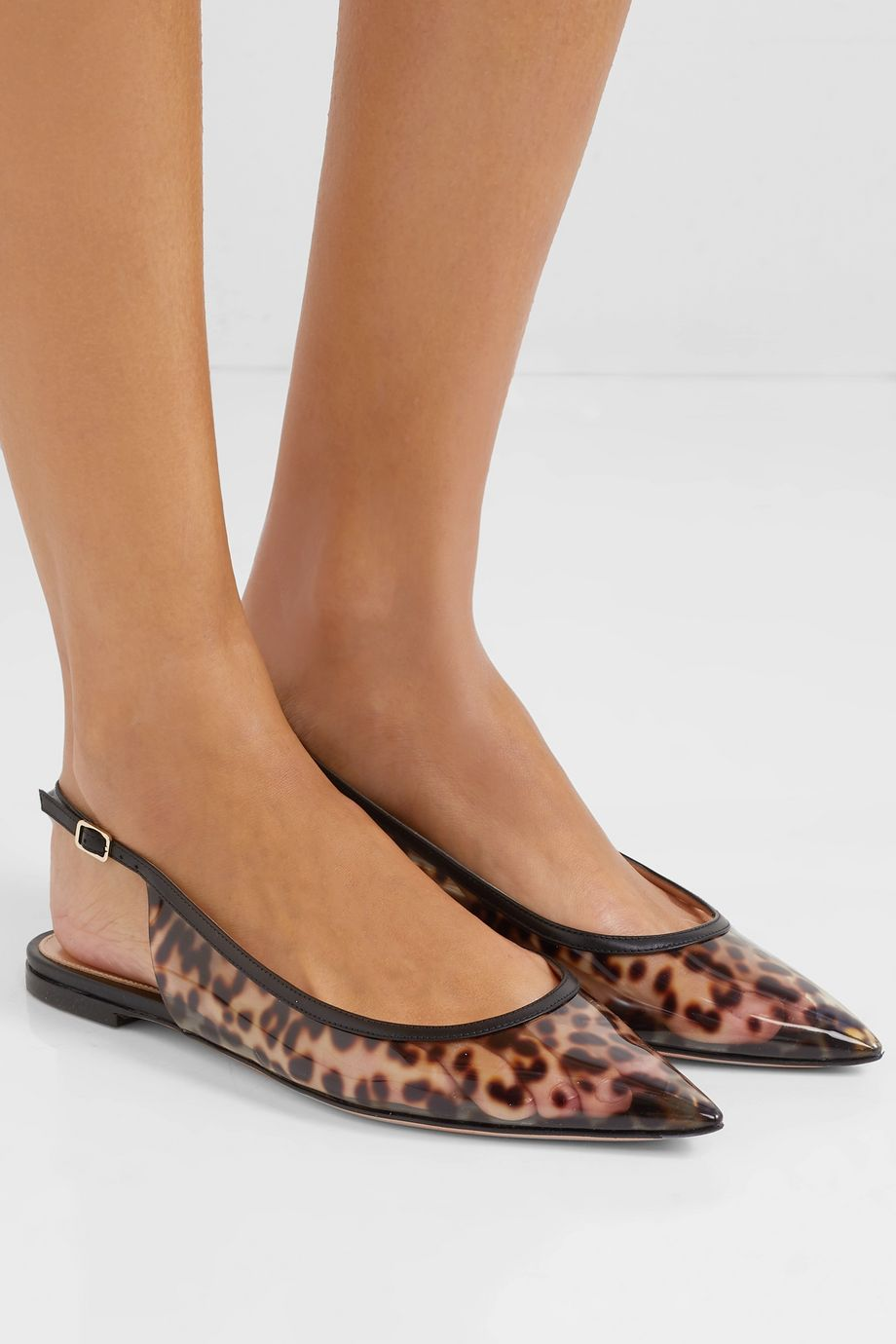 Gianvito Rossi Patent leather-trimmed leopard-print PVC slingback point-toe flats