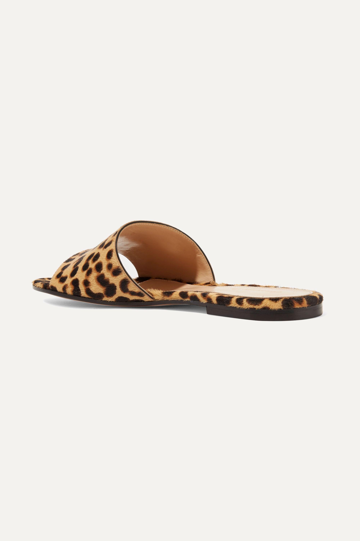 Gianvito Rossi Leopard-print calf hair slides