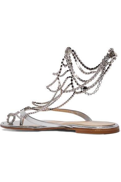 61966726a Gianvito Rossi. Tennis 水晶缀饰镜面皮革凉鞋.  1