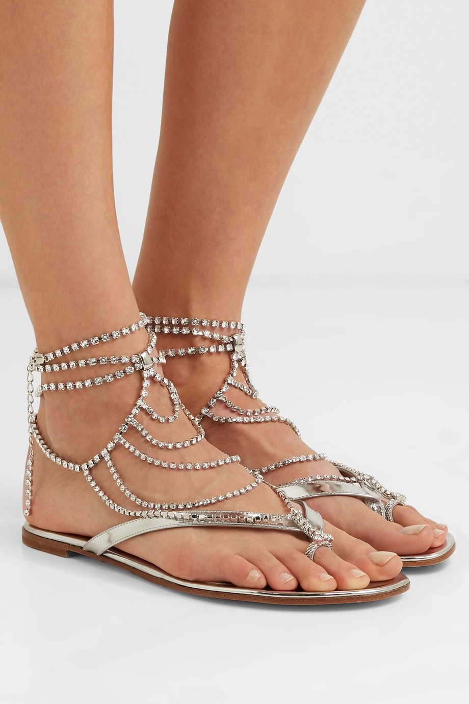 bfd34e115 Gianvito Rossi Tennis crystal-embellished mirrored-leather sandals