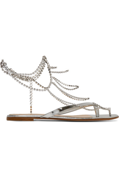 3a8f3b585 Gianvito Rossi. Tennis crystal-embellished mirrored-leather sandals