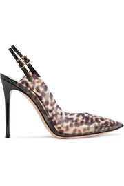 Gianvito Rossi 105 patent leather-trimmed leopard-print PVC slingback pumps
