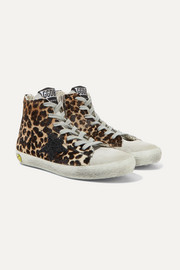 Size 28 - 35 glittered distressed leopard-print calf-hair sneakers