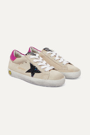Size 28 - 35 Superstar glittered distressed suede and metallic leather sneakers