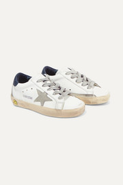 Sizes 19 - 27 Superstar distressed leather and suede sneakers
