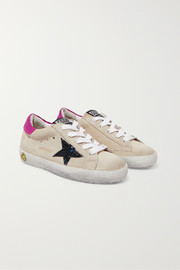 Size 19 - 27 Superstar glittered distressed suede and metallic leather sneakers