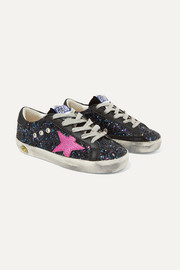 Size 19 - 27 Superstar distressed glittered leather sneakers