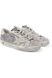 Size 28 - 35 Superstar distressed glittered leather sneakers