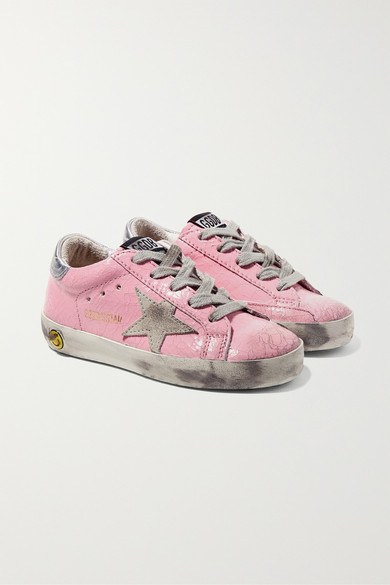 628f6f602d325 Golden Goose Kids. Size 19 - 27 Superstar distressed cracked patent-leather  and suede sneakers