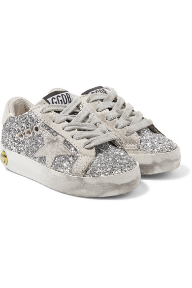 6abd4620c747 Golden Goose Deluxe Brand Kids | Superstar distressed glittered leather and  suede sneakers | NET-A-PORTER.COM