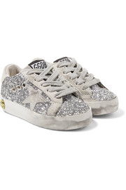 Size 19 - 27 Superstar distressed glittered leather and suede sneakers