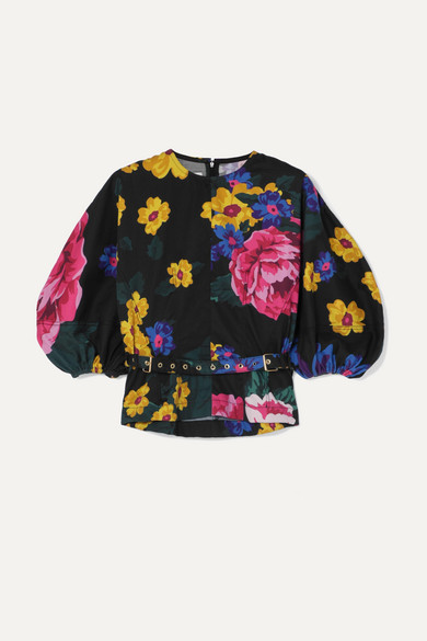 Marques' Almeida Tops BELTED FLORAL-PRINT COTTON-POPLIN BLOUSE